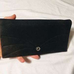 Vintage Embellished Black Clutch Wallet